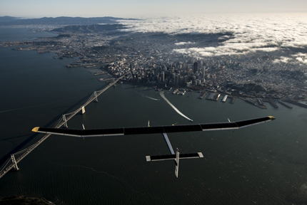 Solar Impulse flying over Golden Gate Bridge, San Francisco, California