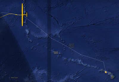 Projected track of solar impulse II on its way to Hawaii