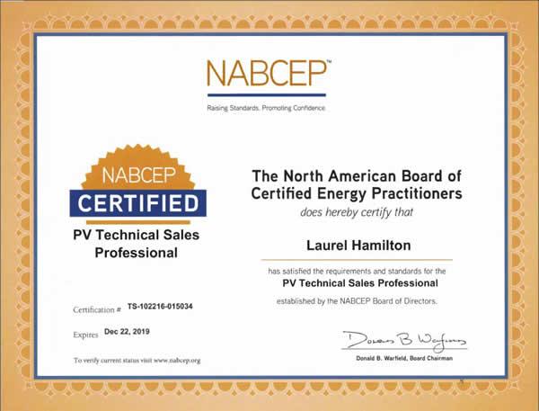 Laurel Hamilton - certified PV Technical Sales Professional
