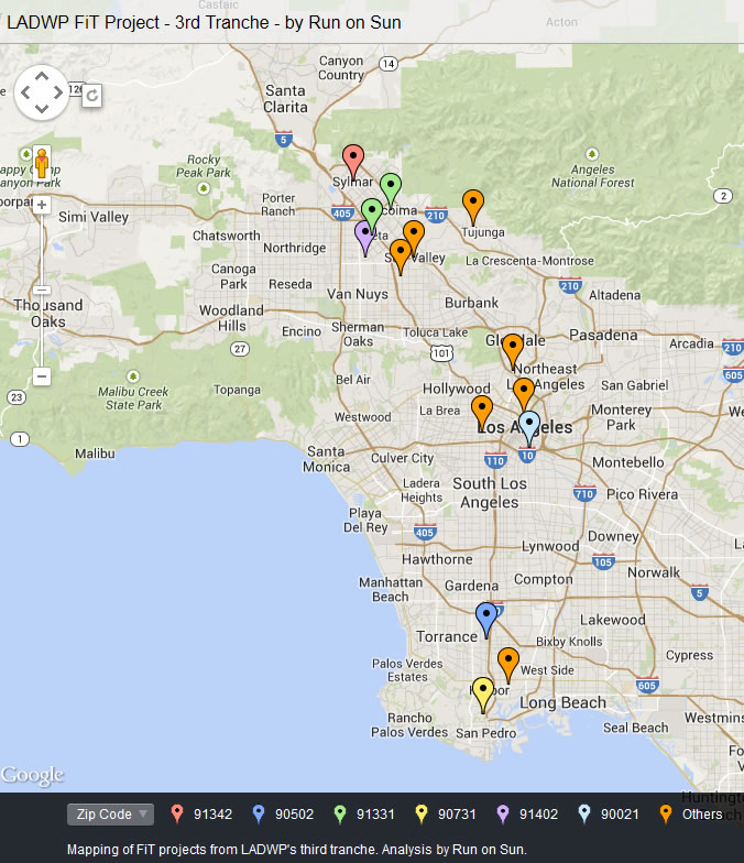 LADWP FiT 3rd Tranche project map