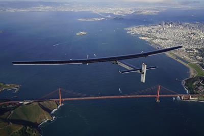 Solar Impulse 2 approaching the Golden Gate Bridge