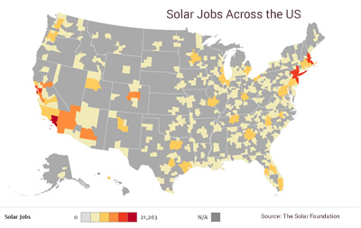 Solar jobs across the US