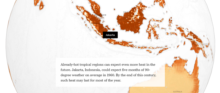 Map showing heat in Jakarta