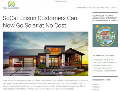 SCE customers can no go solar at no cost