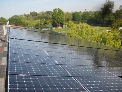 Solar panels on the Performing Arts Center at the Westridge School for Girls