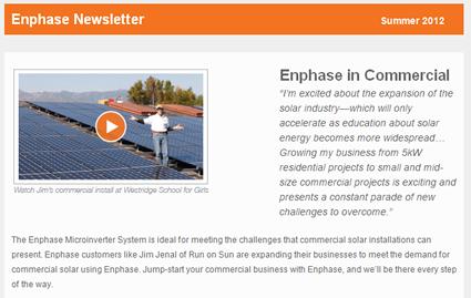 Enphase newsletter featuring Run on Sun