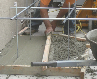 concrete being added for pad
