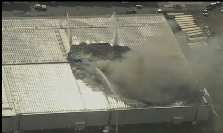 Fire on warehouse