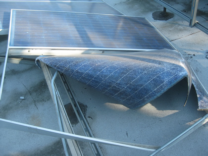 Destroyed solar panel